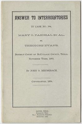 1893 Texas Land Case of Mary C. Paschal vs. Theodore Evans - 1964 Reprint