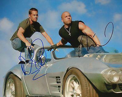 Fast & Furious Paul Walker & Vin Diesel 8x10 autographed photo RP