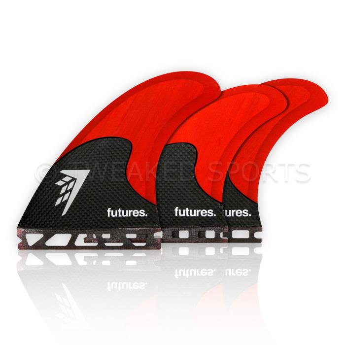 NEW Futures Fins Firewire Bamboo Core Surfboard Tri-Quad 5 Fin Set Red / Carbon