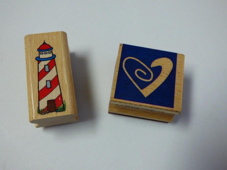Lot of 2 Stampcraft Rubber Stamps Lighthouse 440D190 Heart 440D93
