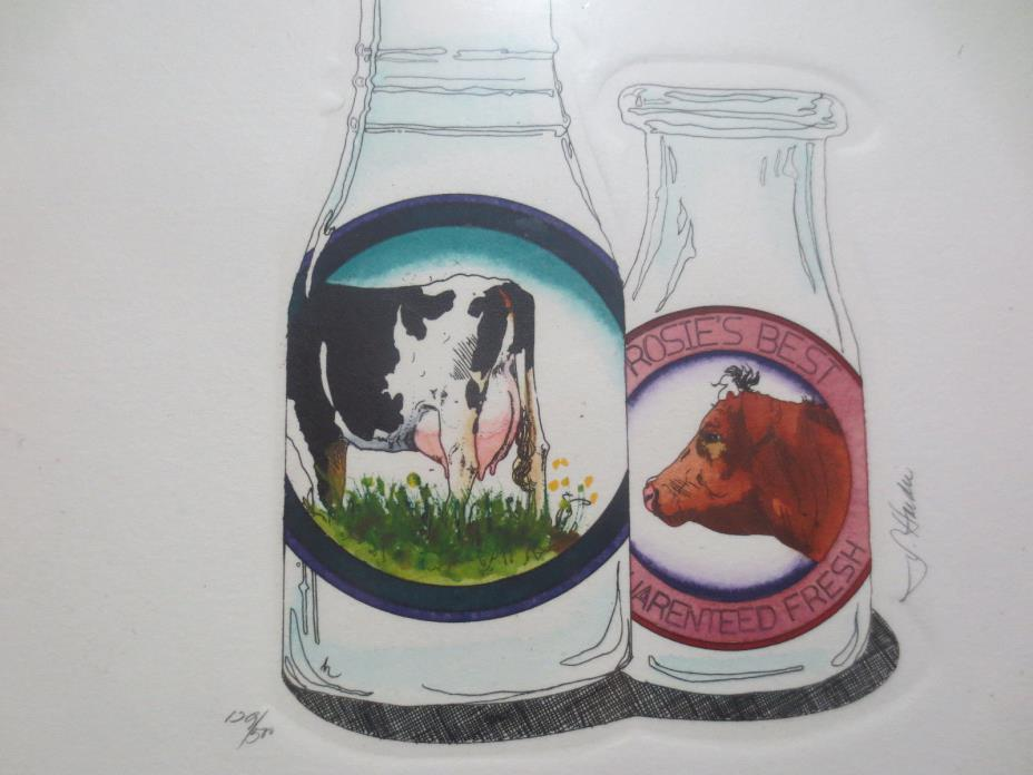 DAIRY FARMING & MILK BOTTLE COLLECTORS SIGNED ETCHING