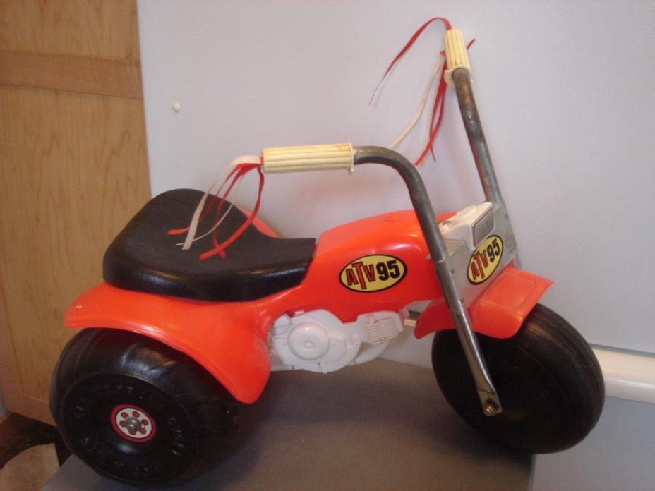 Vintage ATV Ride On Toy Red ATV 3 Wheeler Garage Man Cave Decor Collectible