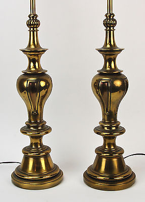 Vintage Pair Stiffel Mid-Century Modern Brass Baluster Table Lamps