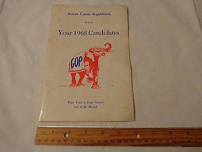 1968 NC Republican Candidates Rowan County NC North Carolina Brochure Booklet