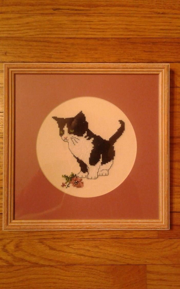 Vintage Framed Cross Stitch Wall Hanging Black and White Cat with Flower