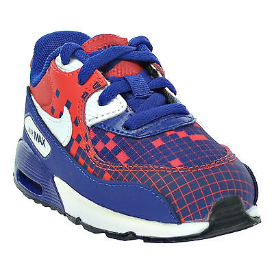 Nike Air Max 90 Prem Mesh (TD) Toddler's Shoes Blue/White/Red Size 6C