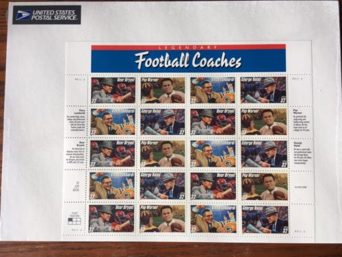 1996 Legendary Football Coaches sheet of 20 32 cent stamps mint condition