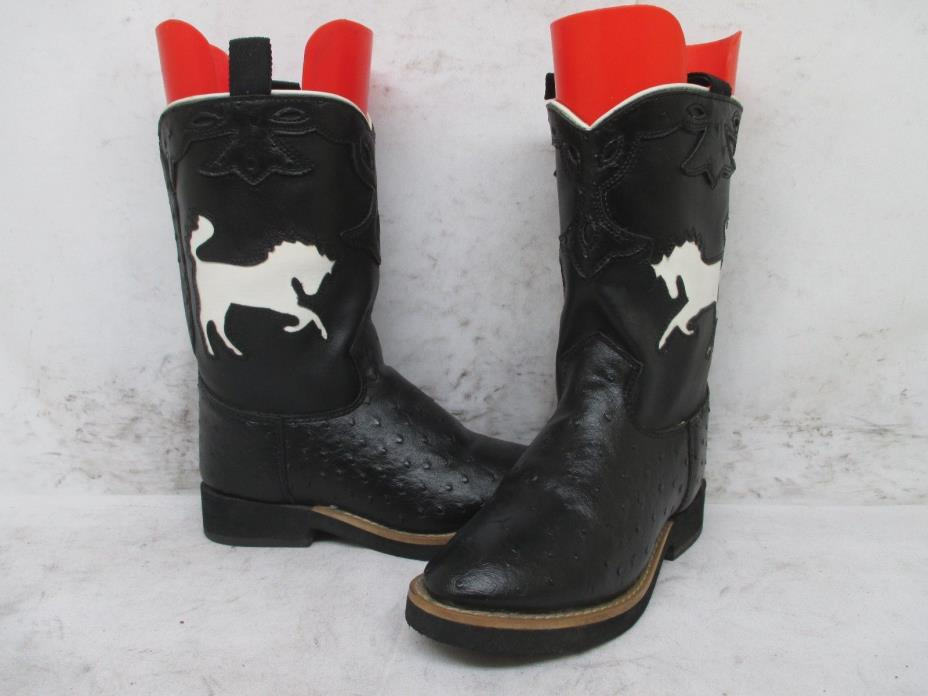 Smoky Mountain Black Leather White Horse Ostrich Print Cowboy Boots Youth Size 1