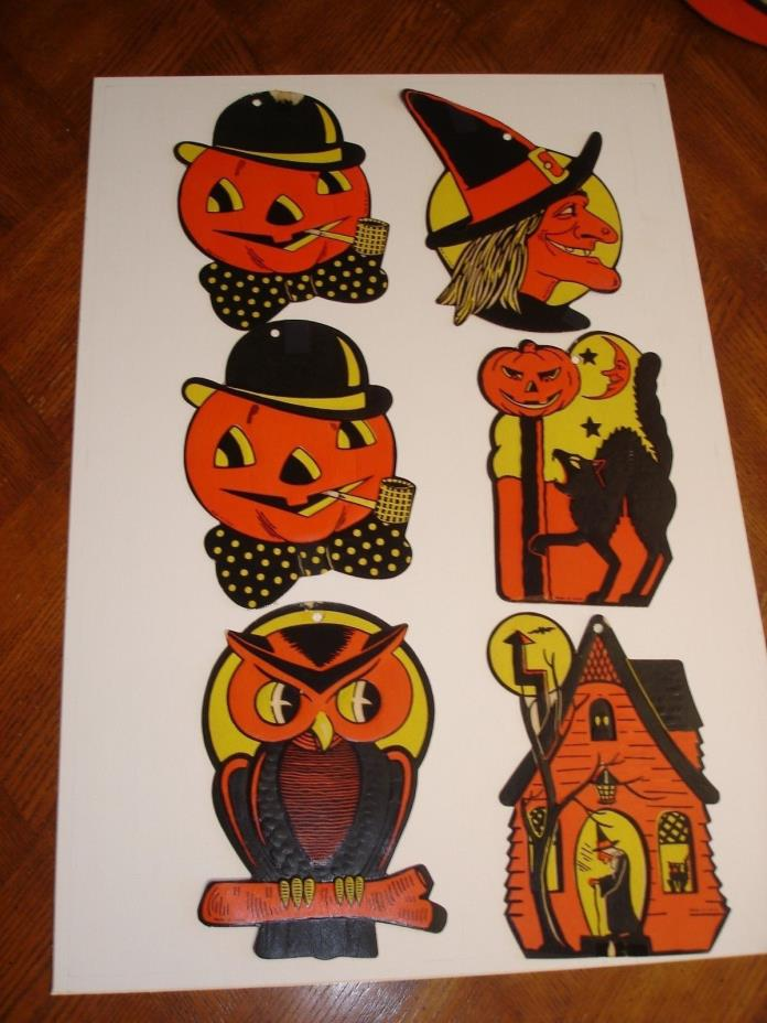6 VINTAGE HALLOWEEN  DECORATIONS WALL DIE CUT , WITCH FACE, PUMPKINS, OWL, CAT