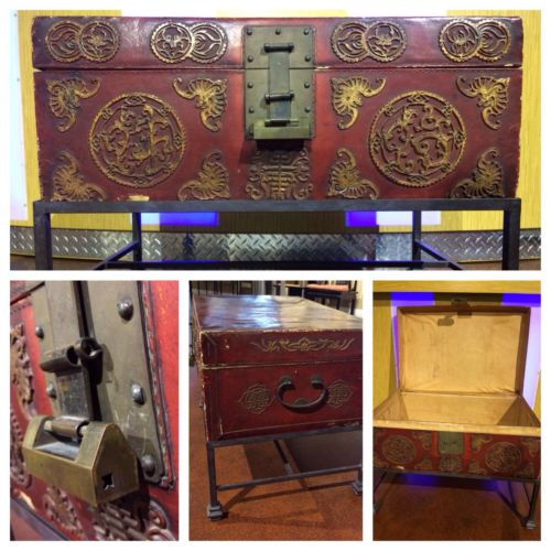 Antique Chinese Leather Trunk from 1900's W/Original Lock & Stand