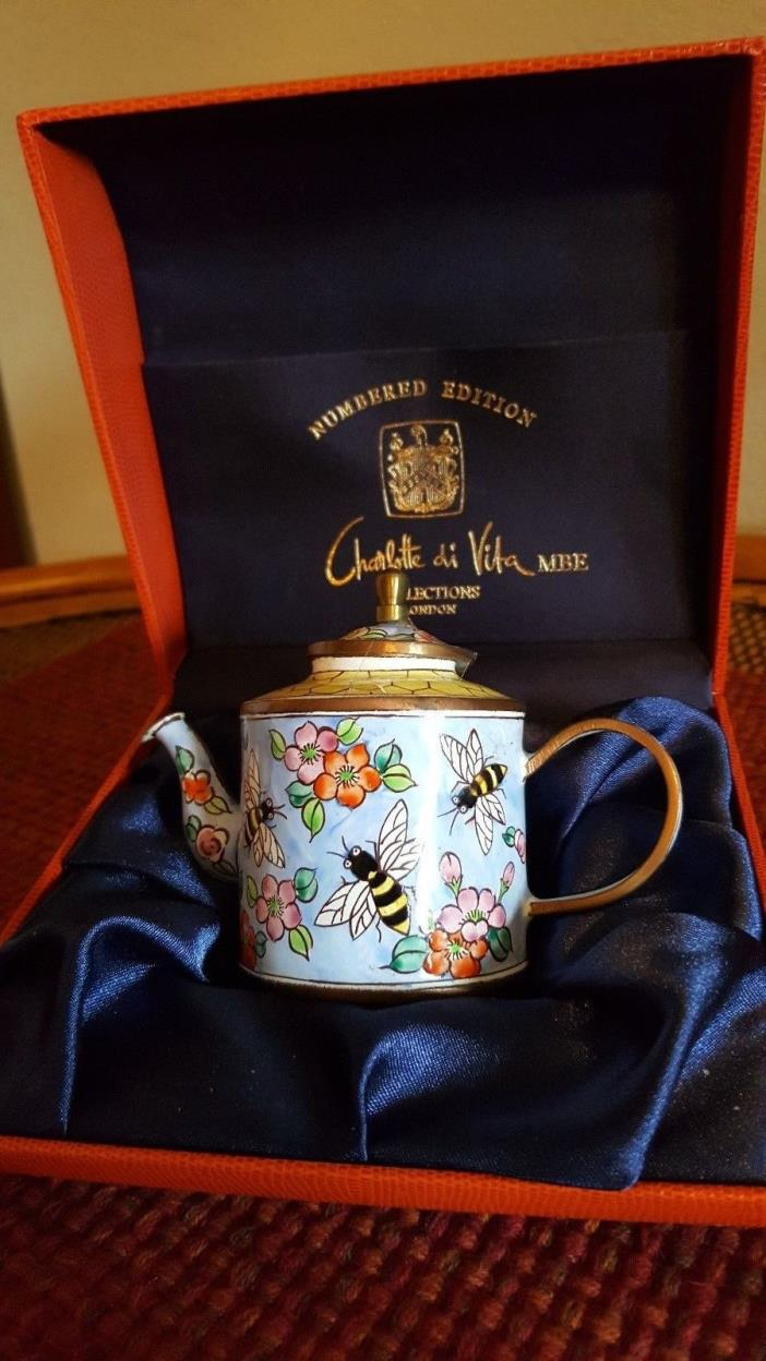 Teapot, Hand Painted, Enamel on Brass