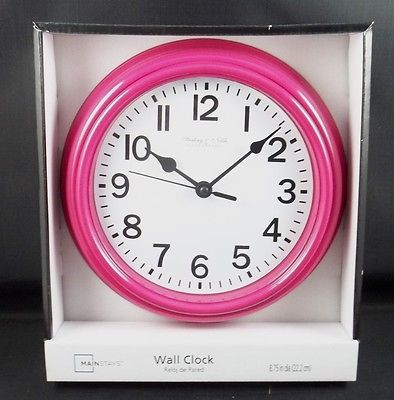 Sterling & Noble Clock Company Kitchen Wall Clock Glass Lens Pink