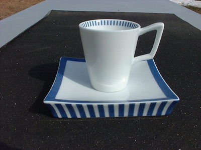 Abode White with Blue Stripes Cup & Saucer