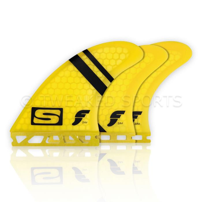 Futures Fins Simon Anderson SA4 Honeycomb Surfboard Tri-Quad 5 Fin Set - Yellow