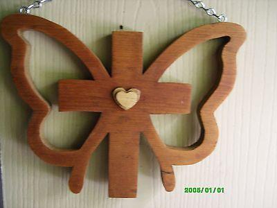Handcrafted Door or Wall Hanging Religious Butterfly Cross Wood Plaque
