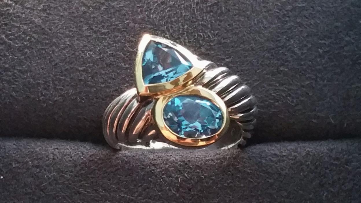 David Yurman - *Rare* Silver & 18k Blue Topaz Ring - Mint Condition!