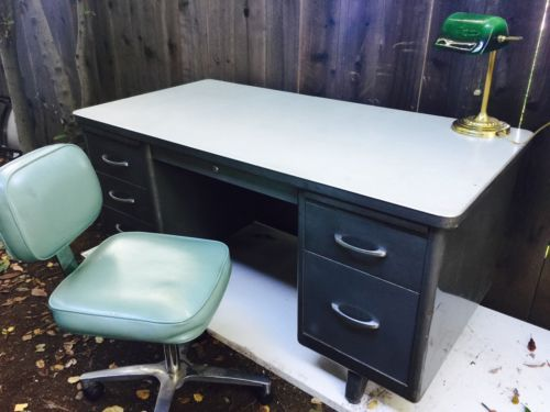 Vintage Mid Century STEELCASE Tanker Industrial Desk With vintage chair