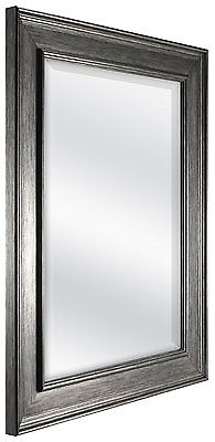 MCS Pewter Color Beveled Living Bath Room Rectangle Mirror Wall Mount Decor New