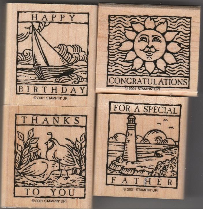Stampin Up Wonderful Woodcuts 2001 Set of 4 Rubber Mounted Stamps Unused