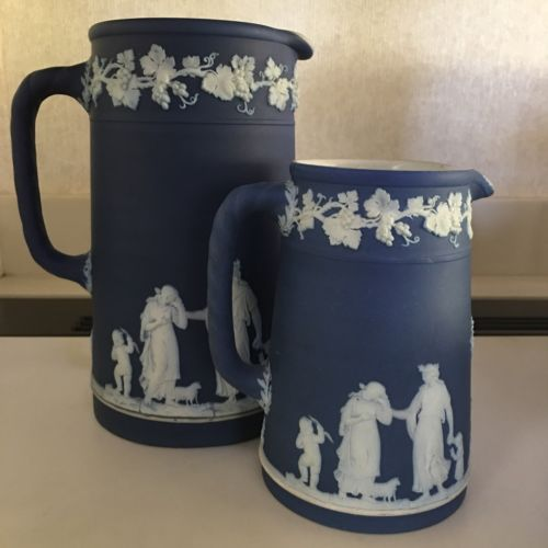 WEDGWOOD Cobalt Blue Jasperware Small And Large PITCHER NOT EASY TO FIND.