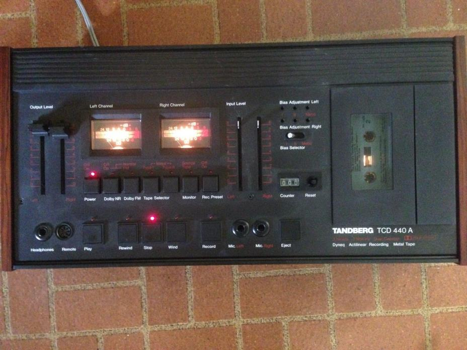 Rare Black Tandberg TCD-440A Stereo Cassette Deck works