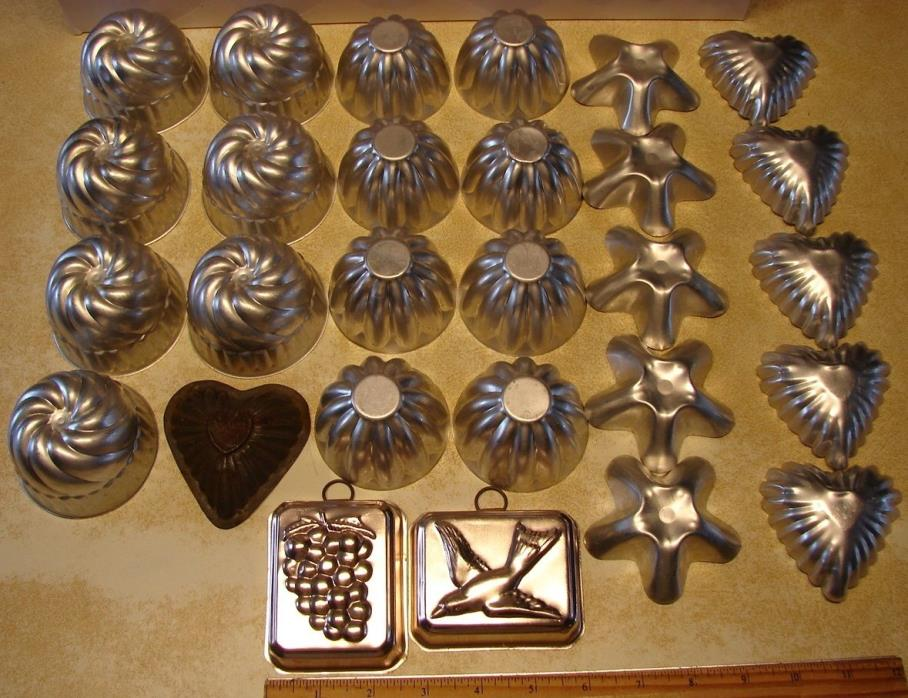 Aluminum Jello Molds Mini Bundt Cake Hearts Stars Tart Baking Soap Candle Lot/27