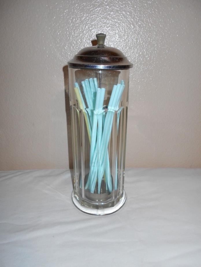 Vintage Heavy Paneled Glass Straw Holder/Dispenser