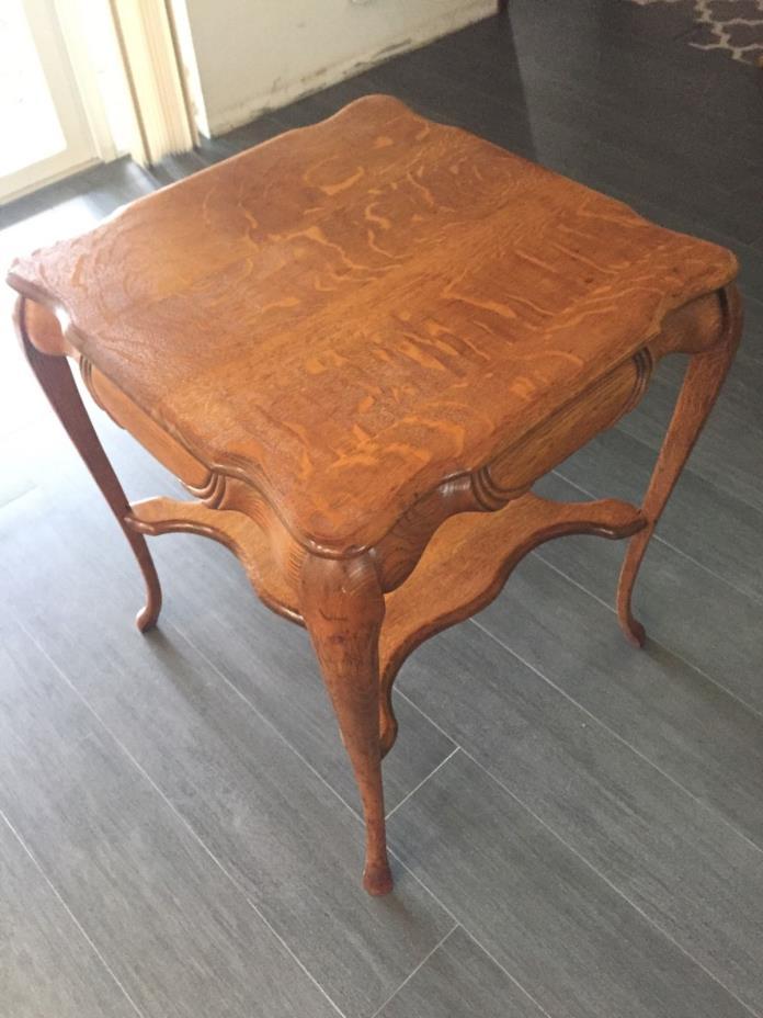 Antique Solid Oak Side lamp table