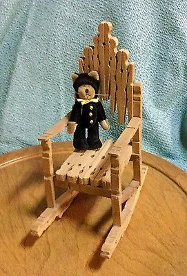 VTG Wood Clothes Pin Child Toy Doll House Rocking Chair Furniture+Boyd's Bear