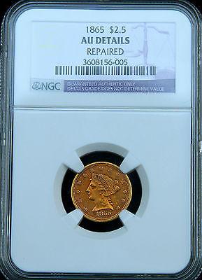 1865 Liberty Gold Quarter Eagle $2 1/2 $2.5 NGC AU Details Rare Civil War Issue