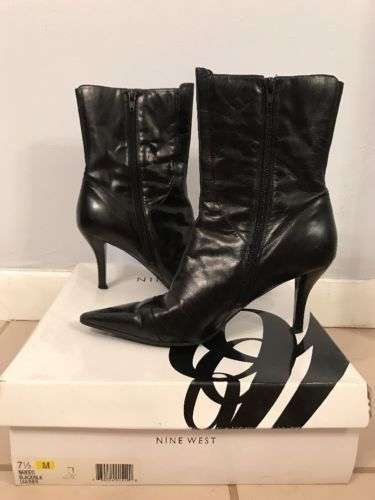nine west black leather boots