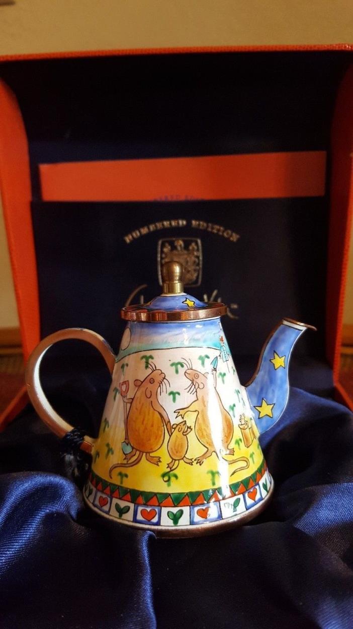 Teapot, Hand Painted Enamel on Brass