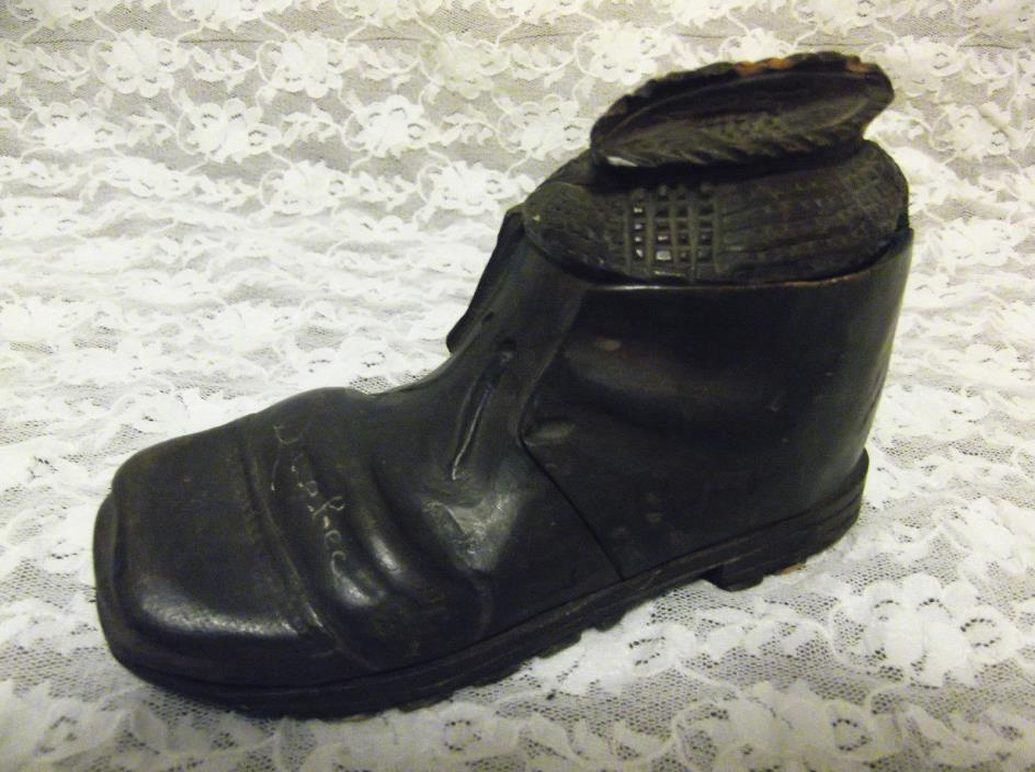 ANTIQUE FOLK ART-CARVED WOOD INKWELL-WORN OUT SHOE BOOT WITH SOCK-QUEBEC ETCHED