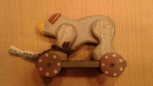 Cute Handmade Wooden Bear on Wheels with Fish Attached by Rope