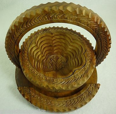 Afghanistan Hand Carved Wood Bowl Collapsible Trivet