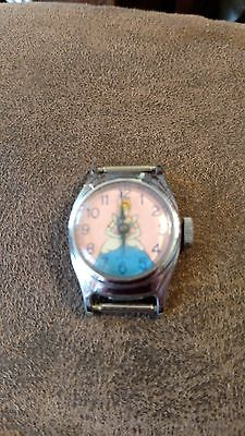 Vintage Walt Disney Productions CINDERELLA Watch US Time WORKS GREAT