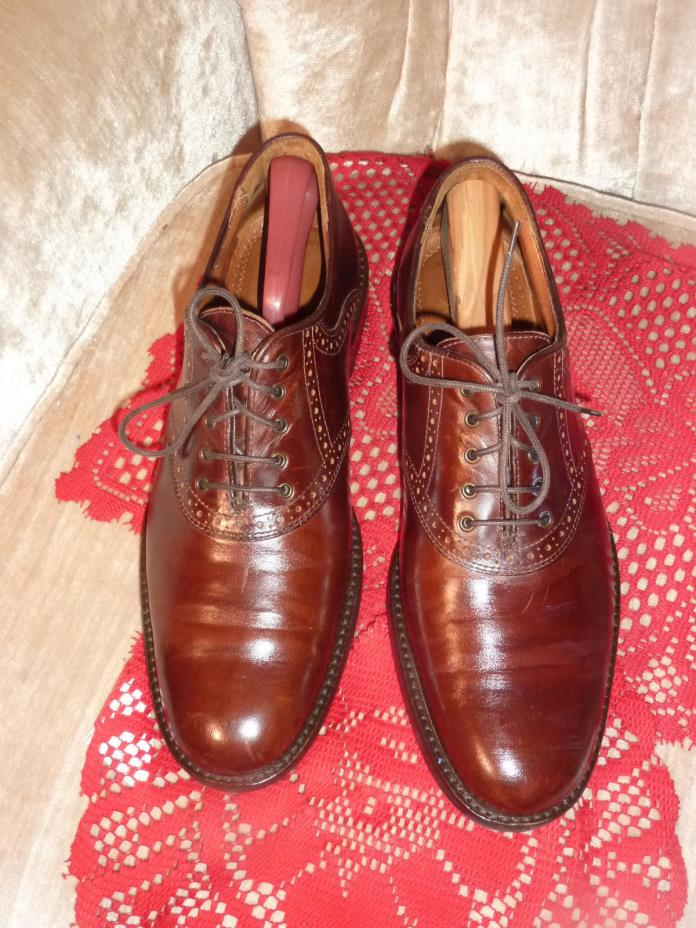 Johnston Murphy burgandy Leather Saddle Oxfords Shoes Mens 10M