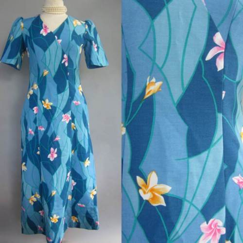 VINTAGE UNITED AIRLINES Stewardess HAWAIIAN ROUTE UNIFORM dress BLUE FLORAL S/ 4