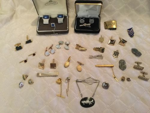 Men's Jewelry Lot Tie Tacks Buttons Clasps Bars Cuff Links More