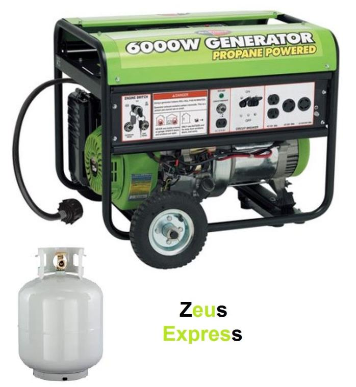 Portable Propane Generator 6000W Allpower Electric Start 13HP Wheel Kit and Hose
