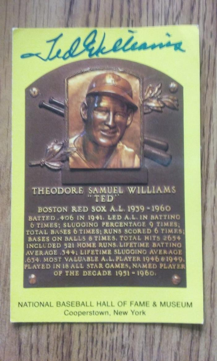Ted Williams autograph HOF Placque