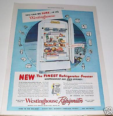 1949 Westinghouse Refrigerator vintage kitchen Ad