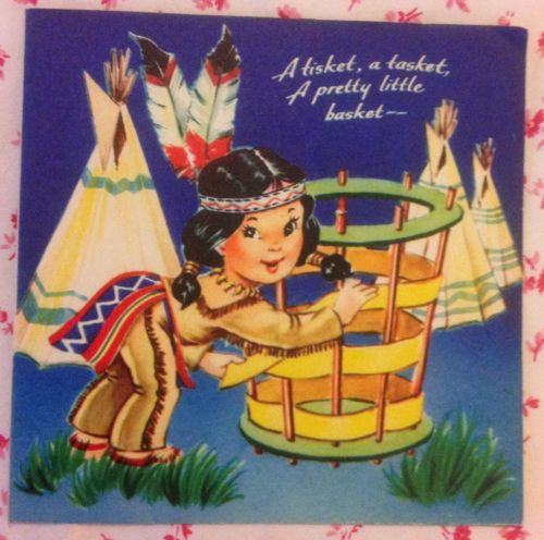 Vintage 1950s Greeting Card with Tepee, Native American Indian Girl, & Feathers