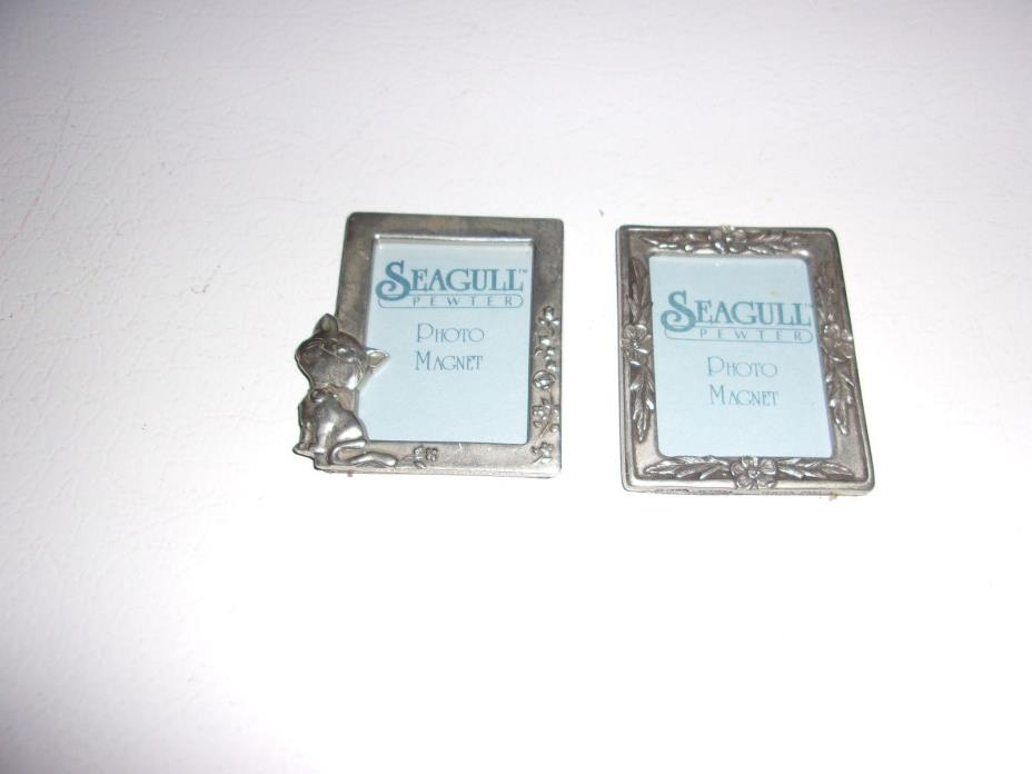 Seagull Pewter Photo Magnet X 2 Flowers & Kitten Cat Design Approx 2
