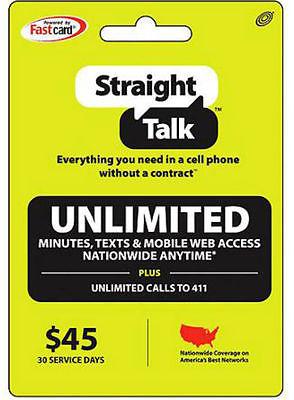 Straight Talk Refill Card 30 Days $45 Prepaid Unlimited Service