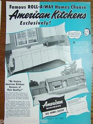 1951 AMERICAN KITCHENS Cabinets Famous Redwood City Roll-A-Way Homes Choose Ad