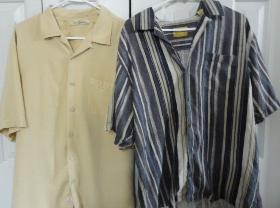 Lot Of 2 Tommy Bahama Men's Button Up Short Sleeve Shirts 100% Silk Size L