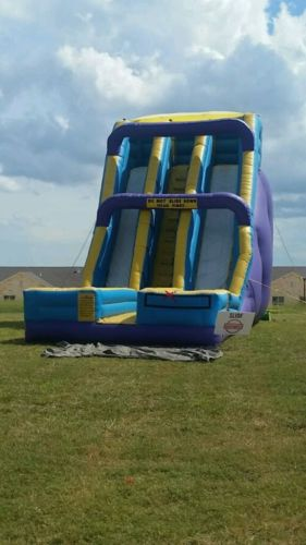 bounce house 24' slide double lane huge