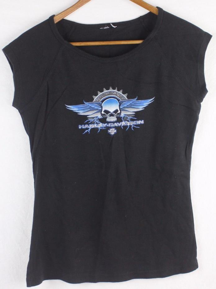 Harley Davidson Women's Black Shirt Top Graphic Front T-Shirt (See Measurements)
