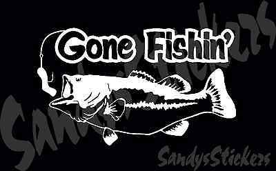 10 Gone Fishing Vinyl Decals Stickers - Many Colors - Bass Boat